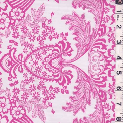 Pink Floral Oilcloth, Fabric by The Yard