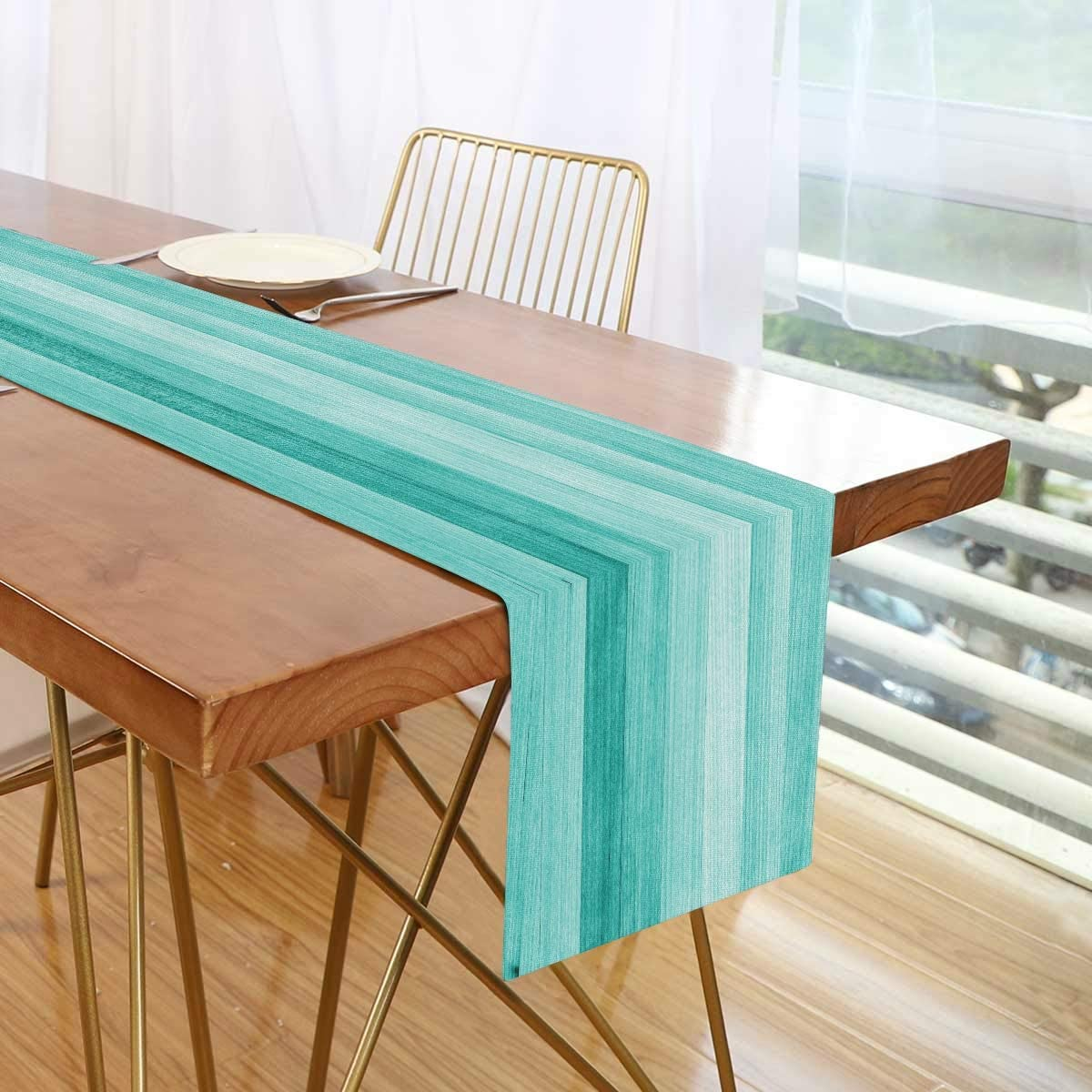 SUABO Teal Turquoise Green Wood Table Runner, Table Runners Polyester Cotton for Party Event Festival Decoration