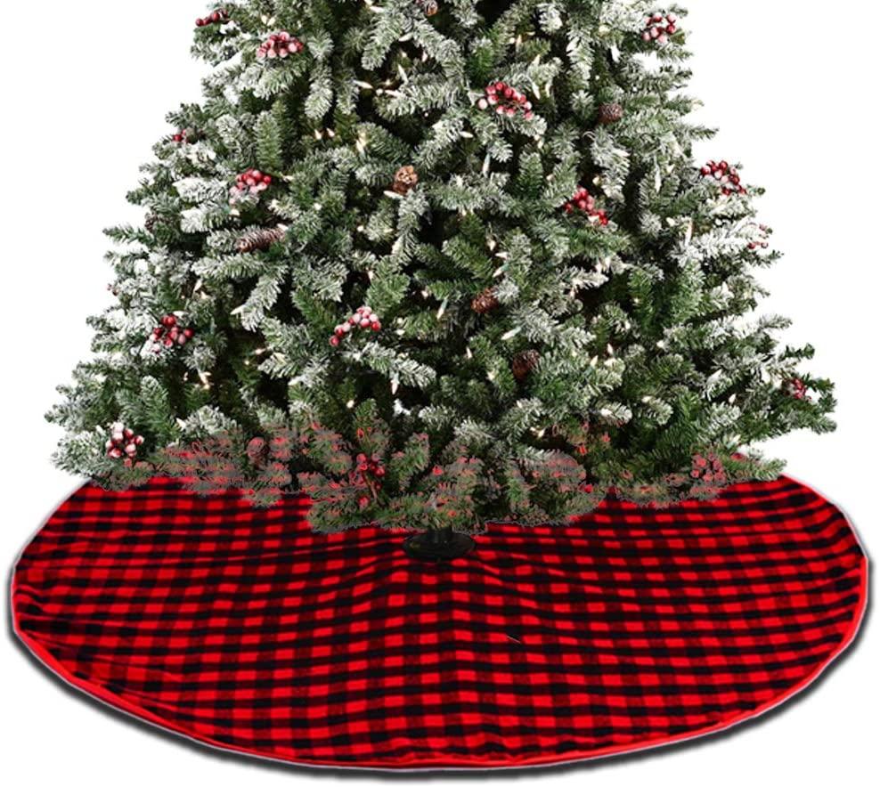 LGHome 48INCH Buffalo Check Tree Skirt, Buffalo Check Christmas Tree Skirt, Red and Black Double Layer Plaid Tree Skirt for Christmas Decoration