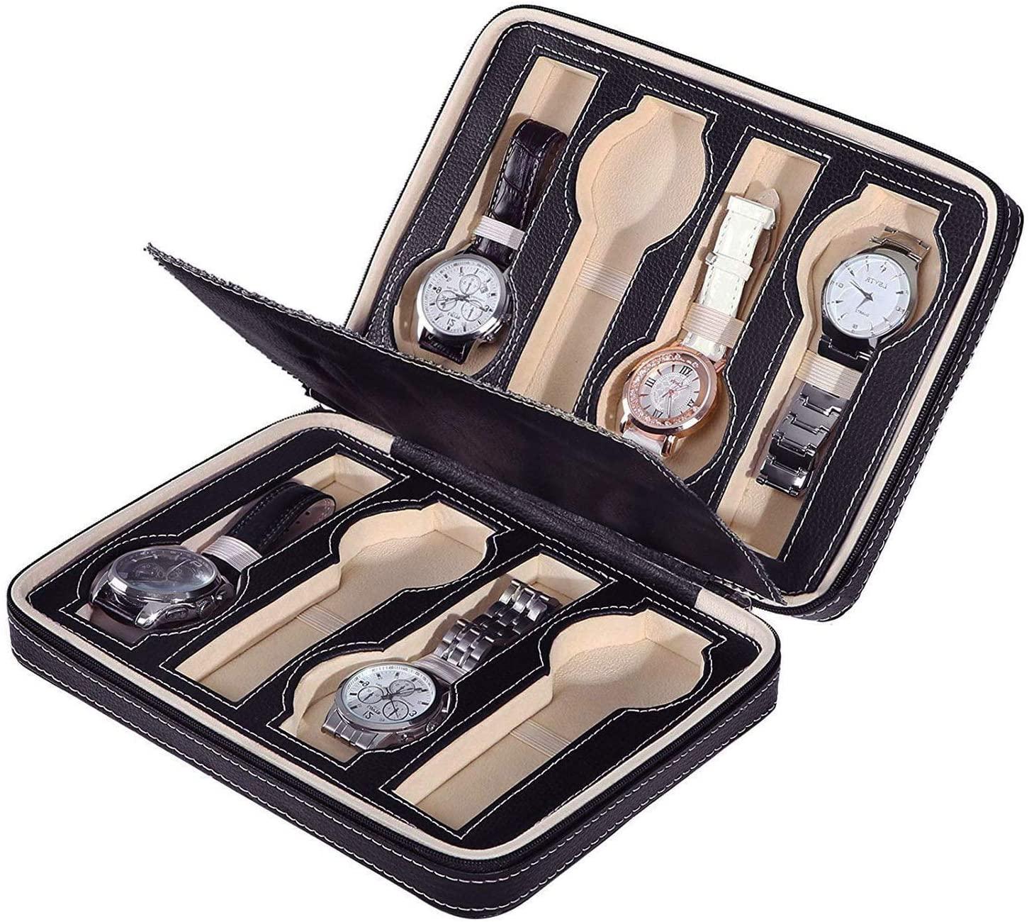 Binlin Mini Watch Box,8-Slot Portable Watch Box Travel Case Storage Organizer,Black
