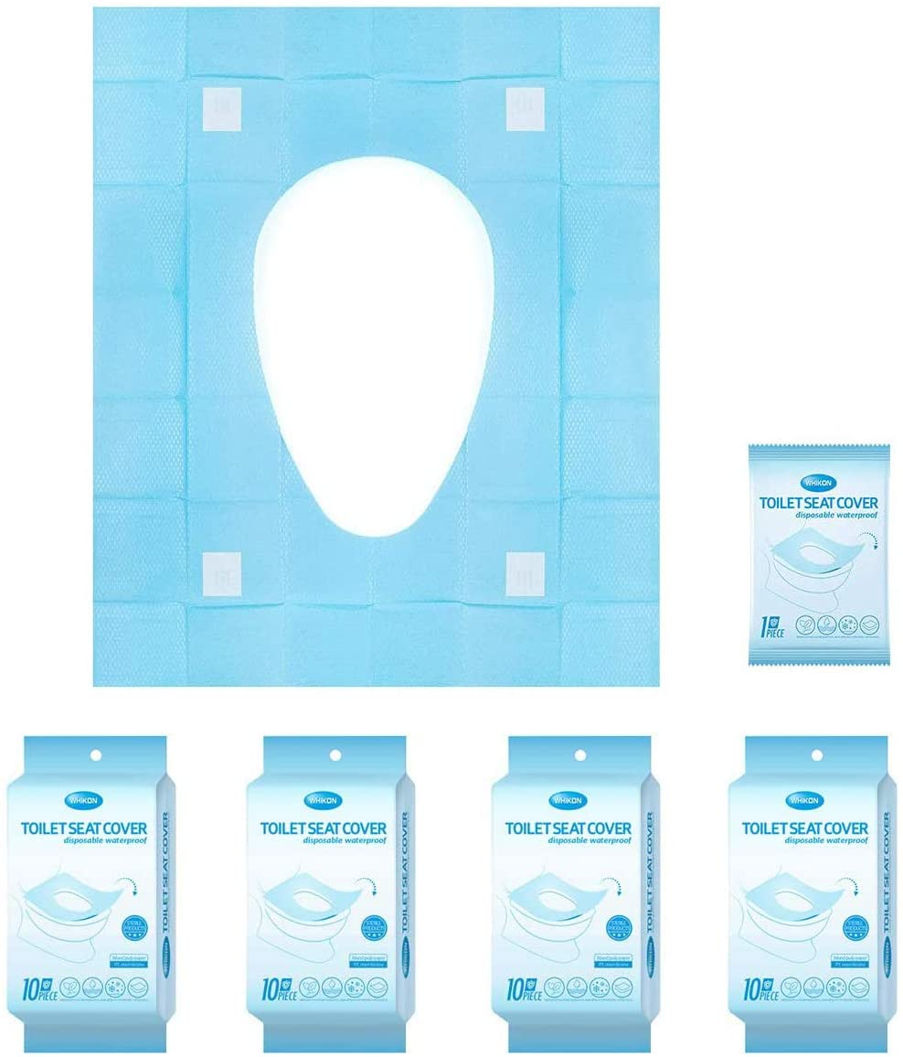 Toilet Seat Covers Disposable No-Slip,Portable Potty Seat Covers PE Waterproof Film Individually Wrapped Toilet Mats Covers for Adult, The Pregnant, Kids and Toddler Potty Training, 40 Pack