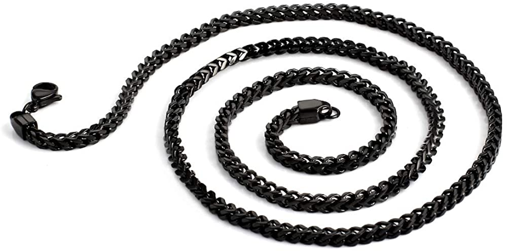 Stainless Steel Men's Necklace Link Chain-Gold, Silver,Black 60CM/24inch (with Gift Box)