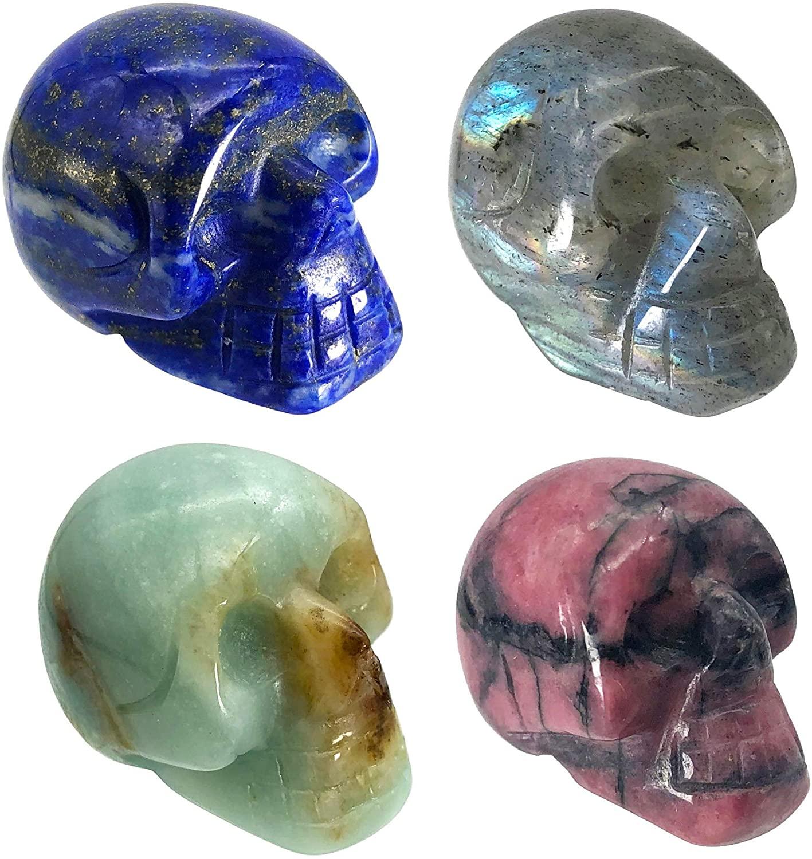 Fekuar 4Pcs Natural Lapis Lzuli & DHgateite & Rhodonite & White Labradorite Hand Carved Stone Human Skull Statue Figurine Halloween Party Decoration, 1