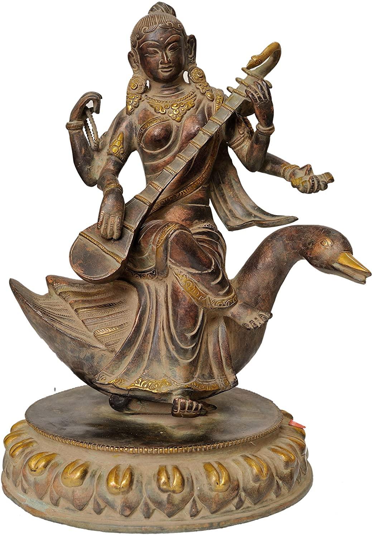 Goddess Saraswati - Brass Statue