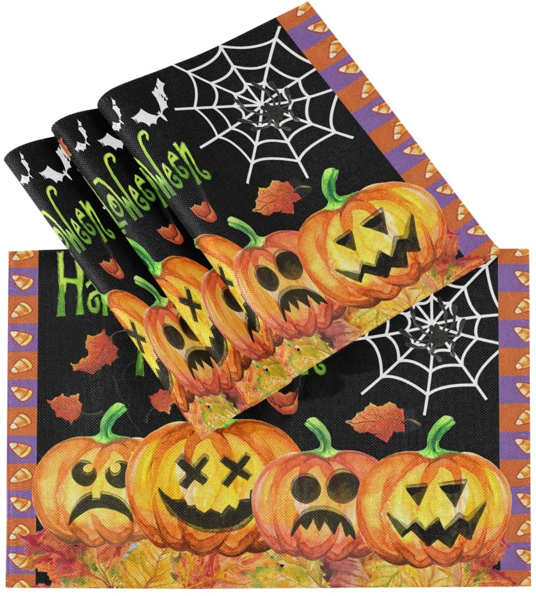 Pfrewn Halloween Pumpkin Spider Placemats Set of 6 Table Mat Witch Maple Leaf Place Mat Double-Sided Print 12