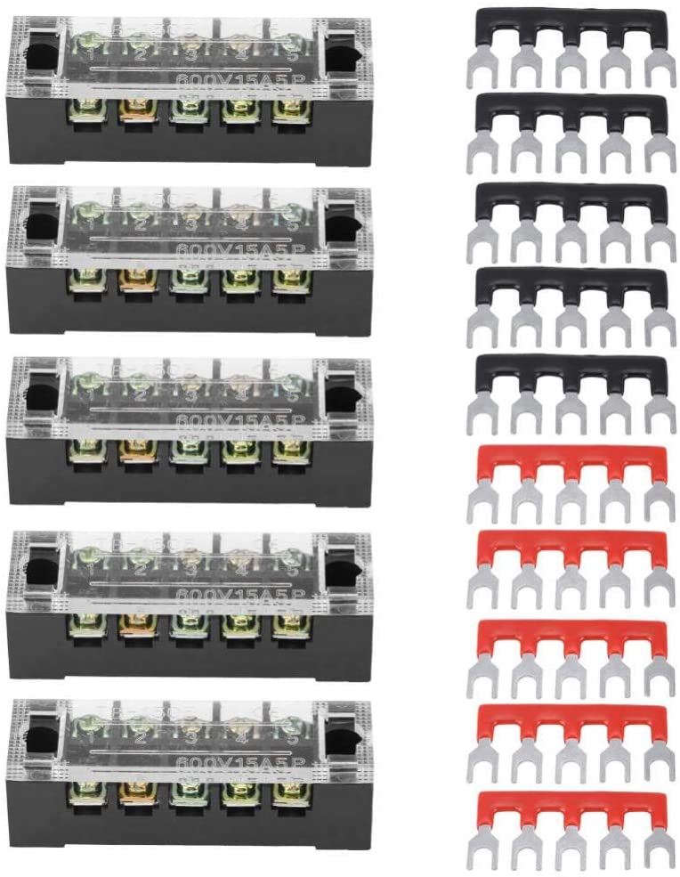 Screw Terminal Strip Dual Row 5 Positions 600V 15A with 10 Pre-insulated Terminal Barrier Strip