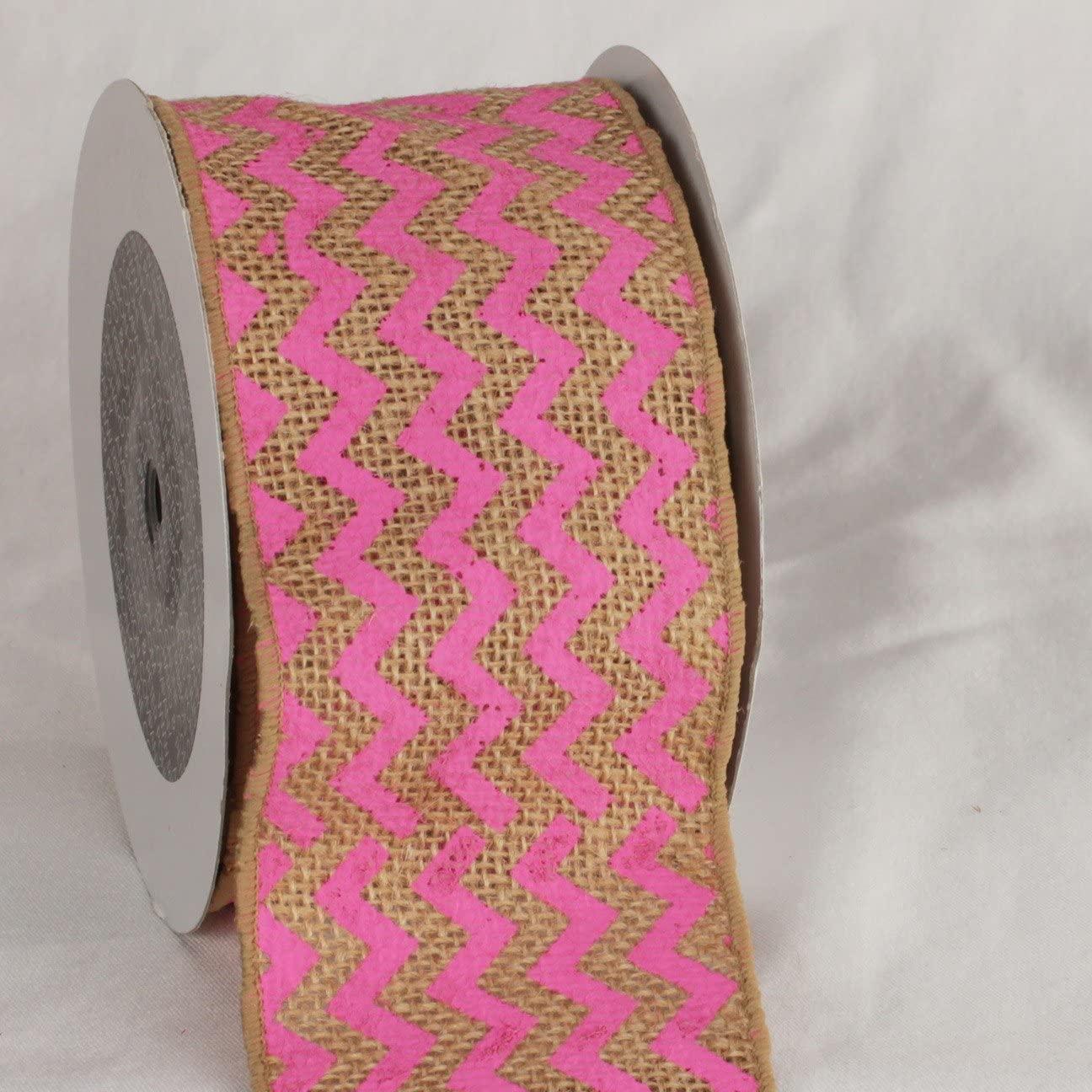 Pink Chevron Print Burlap Wired Craft Ribbon 3