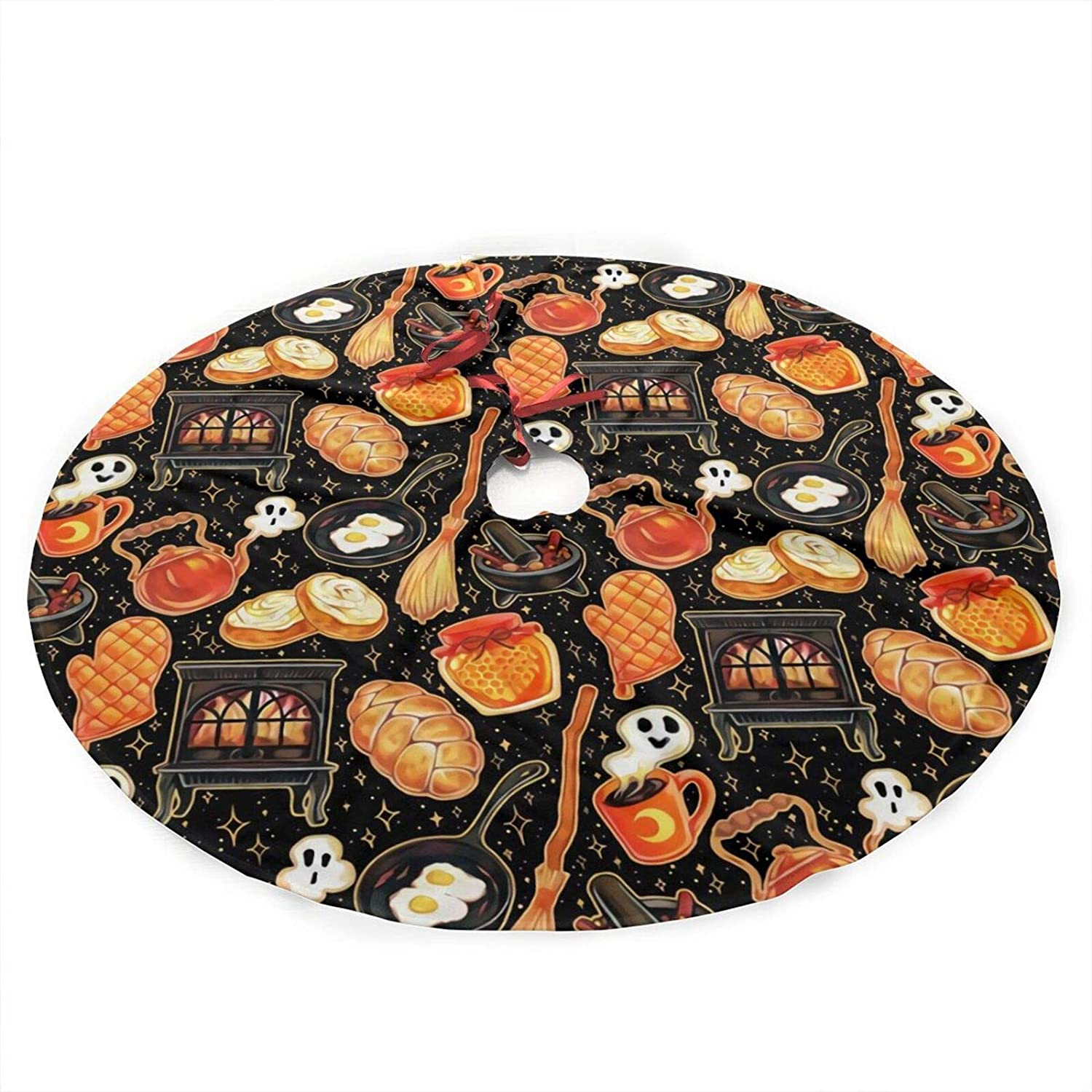 antcreptson Kitchen Witch Supplies On Black Christmas Tree Skirt, 36 inches Xmas Holiday Decoration