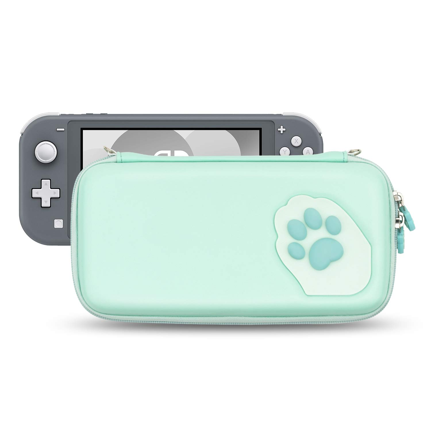 Geekshare Cute Cat Claw Case Compatible with Nintendo Switch Lite- Portable Hardshell Slim Travel Carrying Case fit Switch Lite & Game Accessories - A Removable Wrist Strap (Green)