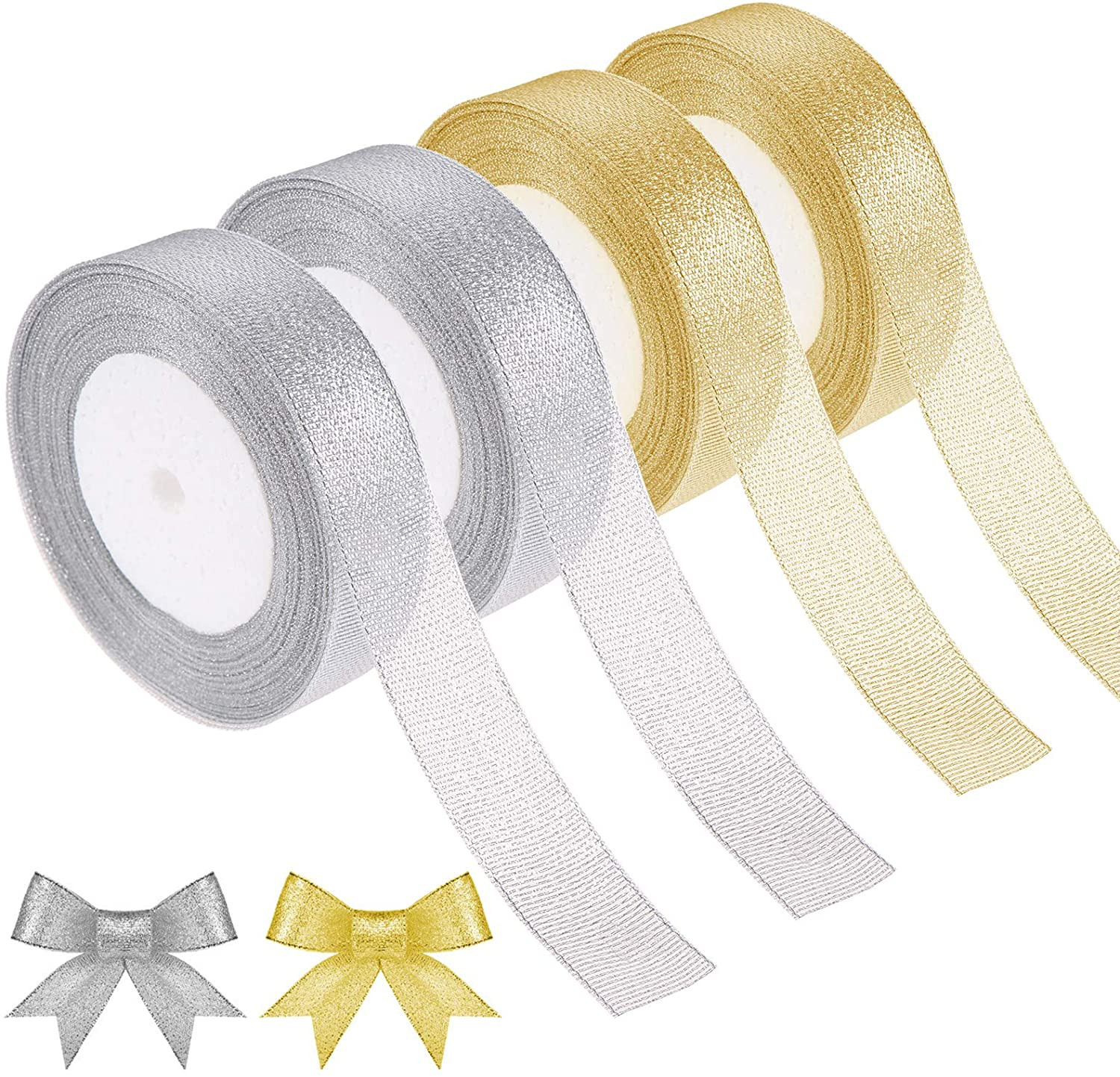 4Roll 25 Yards Organza Ribbon Glitter Trimmings Decorative Ribbons for Gift Wrapping Christmas Festive Decoration