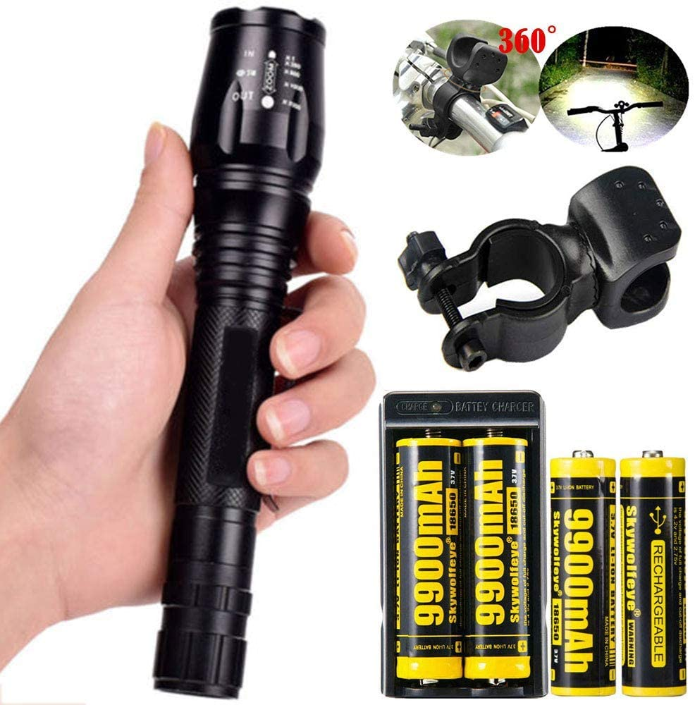 1 Set Tactical 2000LM Zoomable 5 Modes Portable LED 18650 Flashlight 9900mAh Rechargeable Batteries Dual Smart Battery Chargers Bike clip for Camping Hiking Running Outdoor