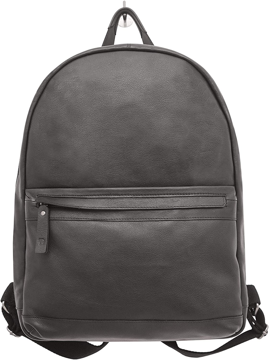 Men's Leather Backpack 13''L x 11''W x 5''D inches Black V-élan