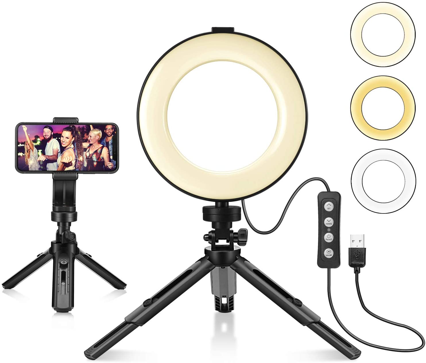 Ring Light with Tripod Stand & Cell Phone Holder for Live Stream/Makeup, Foxin Mini Led Camera Ringlight for YouTube Video/Photography Compatible with iPhone Xs Max XR Android (6