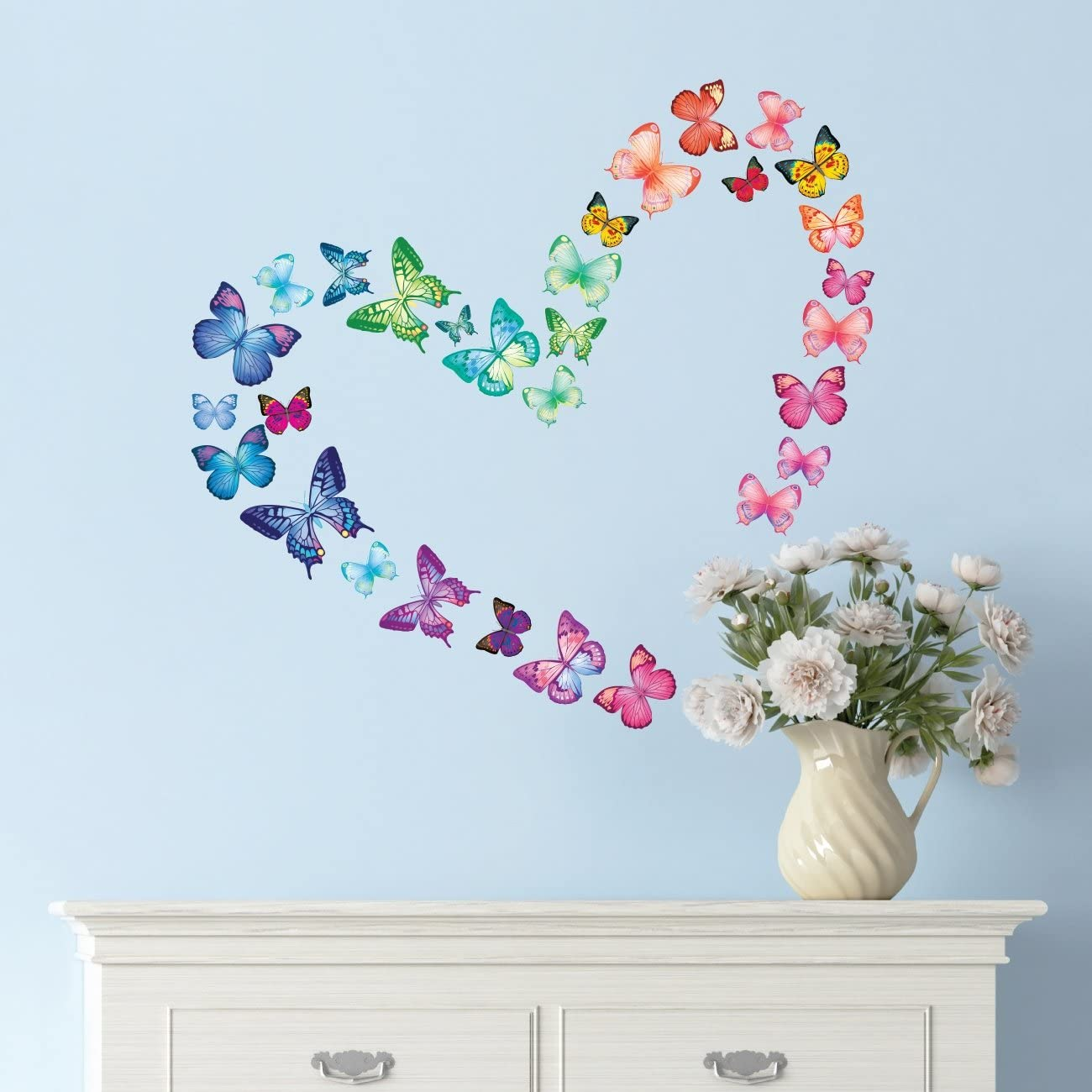 DECOWALL DS-8029 30 Vibrant Butterflies Kids Wall Stickers Wall Decals Peel and Stick Removable Wall Stickers for Kids Nursery Bedroom Living Room (Small) décor