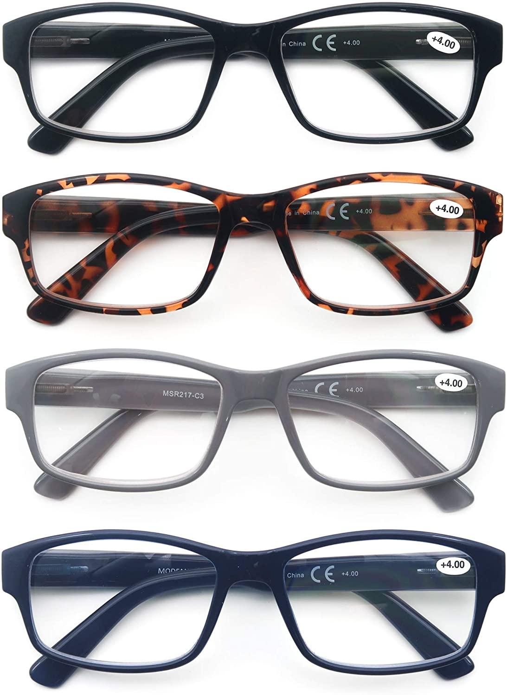 Reading Glasses Men Women Oversized Readers 2.5 Large Square Frame Glasses for Reading for Men with Comfortable Flexible Spring Hinge 4 Pack