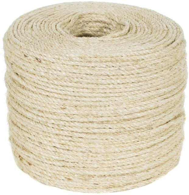 Twisted Sisal Rope (1/4 Inch, 10 Feet) - Decor, DIY Projects, Scratching Post, Marine, Tie-Downs, Wicker Chair