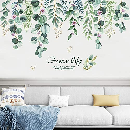 TANOKY Hanging Green Vine Wall Decals, Peel and Stick Leaves Plants Flowers Wall Stickers Decal Art Decor, Waterproof DIY Wall Decor for Living Room Bedroom Kitchen Playroom Nursery Room (Green)