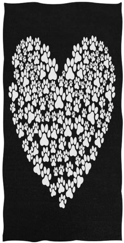 ALAZA I Love Dog Paw Print Black Soft Bath Hotel Spa Hand Gym Sport Towel 30 x 15 Inches