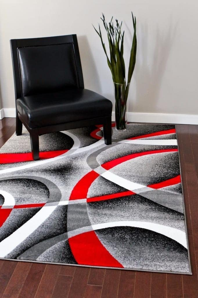 Persian-Rugs 2305 Gray Black Red White Swirls 6'5 x 9'2 Modern Abstract Area Rug Carpet