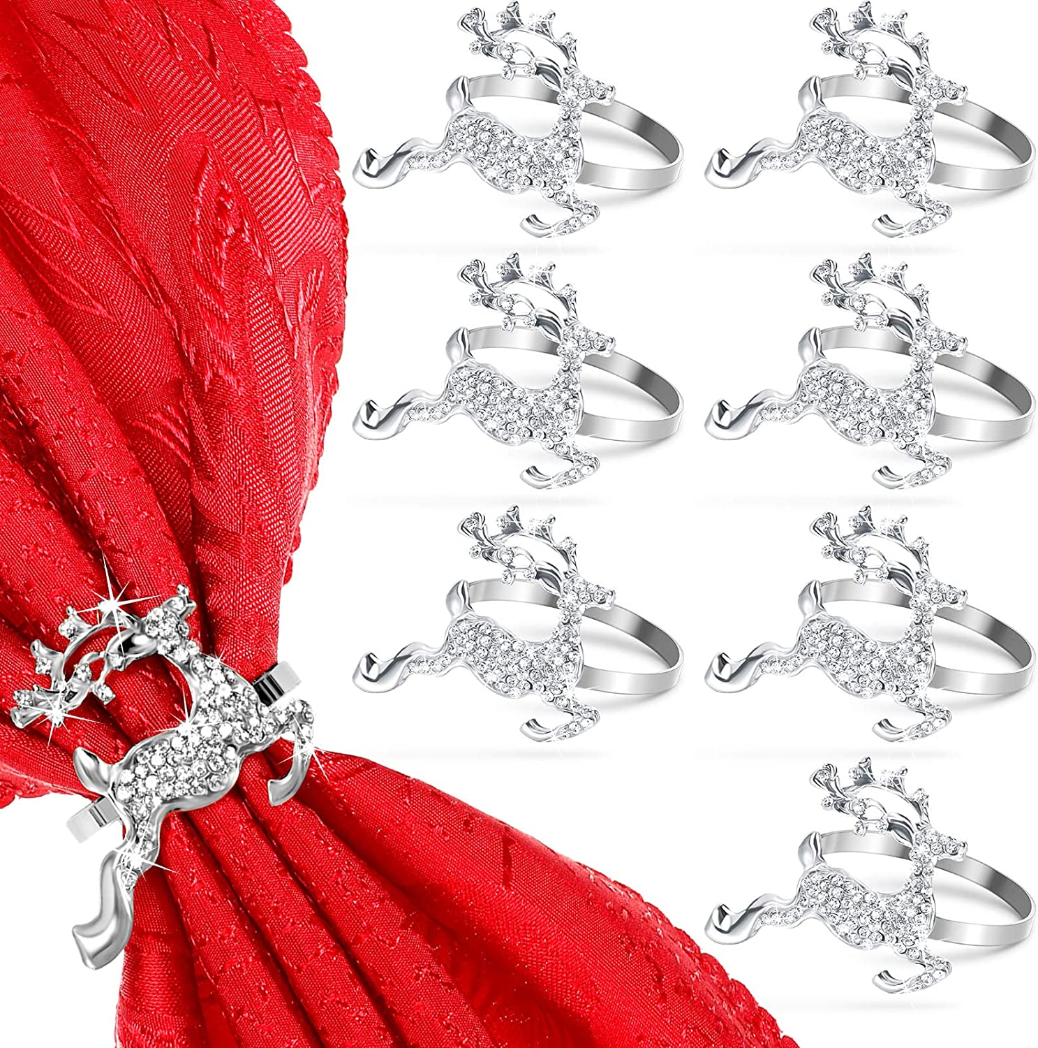 12 Pieces Elk Napkin Rings Holder Buckle Deer Napkin Ring Holder Christmas Napkin Rings with Rhinestones Alloy Metal Napkin Rings for Thanksgiving Christmas Wedding Party Dinner Table Decor (Silver)