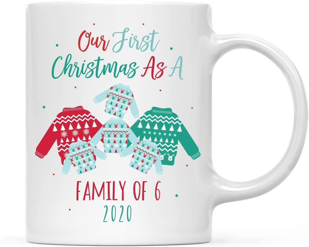 Andaz Press 11oz. Coffee Mug Christmas Gift, Our First Christmas as a Family of Six 2020, Fair Isle Ugly Sweater Design, 1-Pack with Gift Box, Newborn New Baby Mom Dad Xmas Present