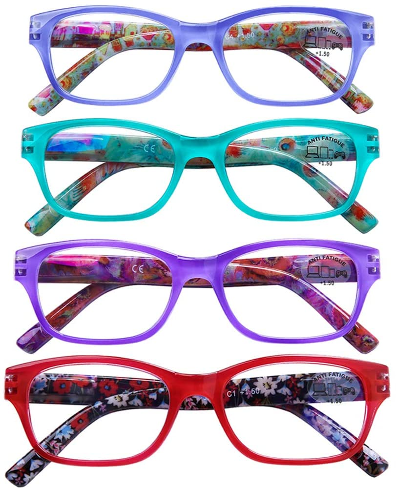 AQWANO 4 PACK Fashion Design Vintage Computer Reading Glasses Blue Light Blocking Women Comfort Spring Hinge Readers, 1.5