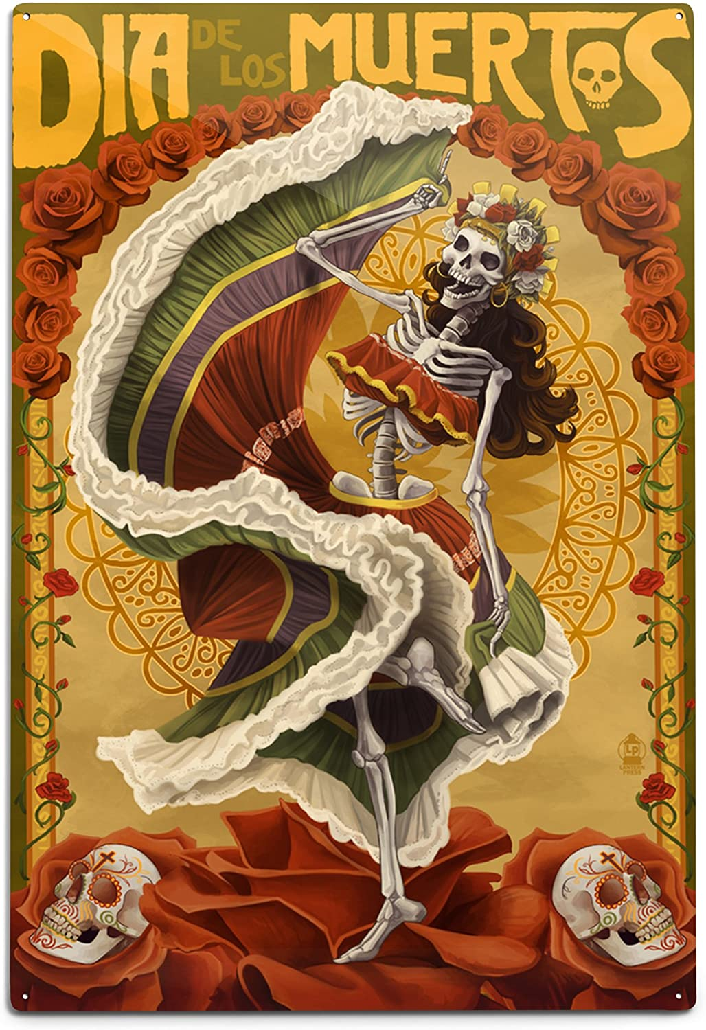 Lantern Press Skeleton Dancing - Day of The Dead 43030 (6x9 Aluminum Wall Sign, Wall Decor Ready to Hang)