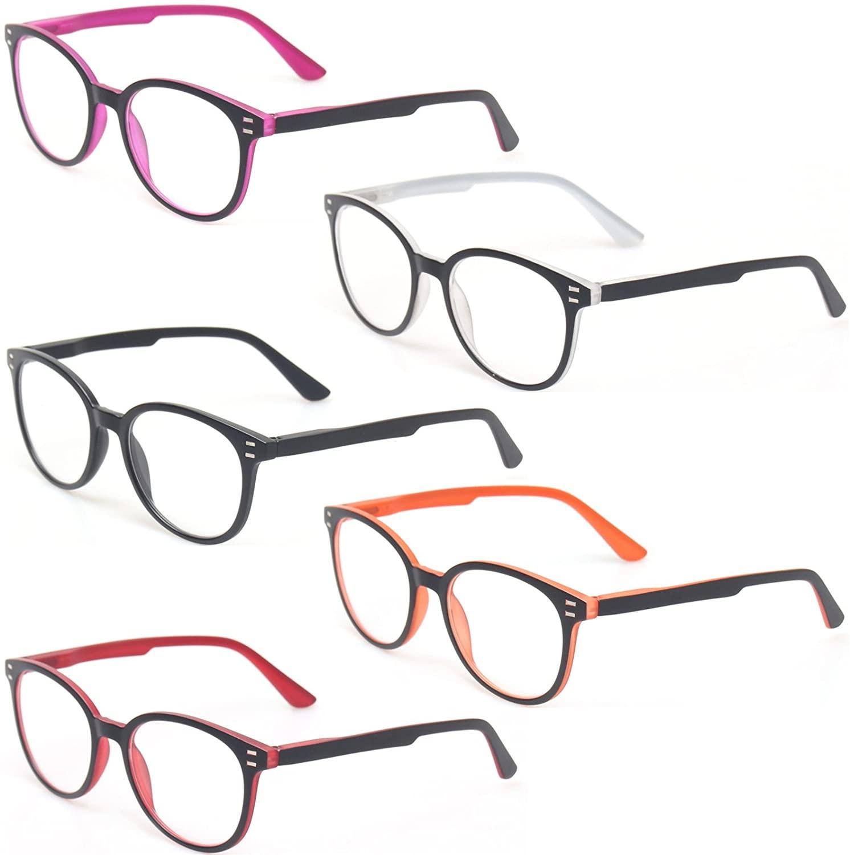 Kerecsen 5 Pairs Retro Round Frame Reading Glasses Spring Hinge Large Readers