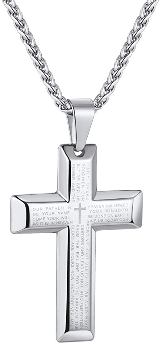 FindChic Men Cross Necklace Christian Crucifix Jewelry Stainless Steel/Black Jesus Christ Lord's Prayer Engravable Pendant with 22inch Chain