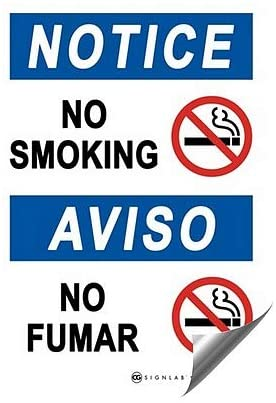 CGSignLab |No Smoking -Notice Heavy-Duty Industrial Self-Adhesive Aluminum Wall Decal | 7x10