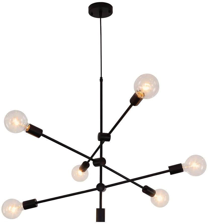 Sputnik Chandelier 6 Lights Modern Black Pendant Light Fixture Industrial Vintage Dining Room Kitchen Island Bedroom Lighting