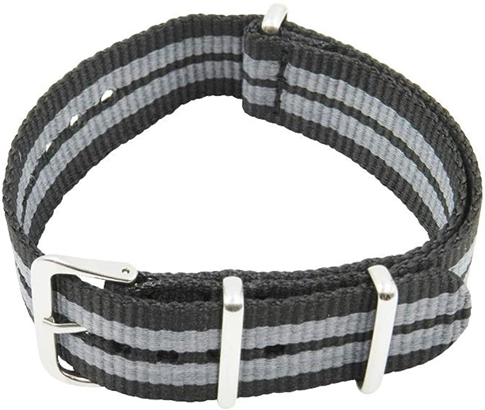 22mm Black/Grey Premium Ballistic Nylon Watch Band NATO Style with Stainless Steel Buckle