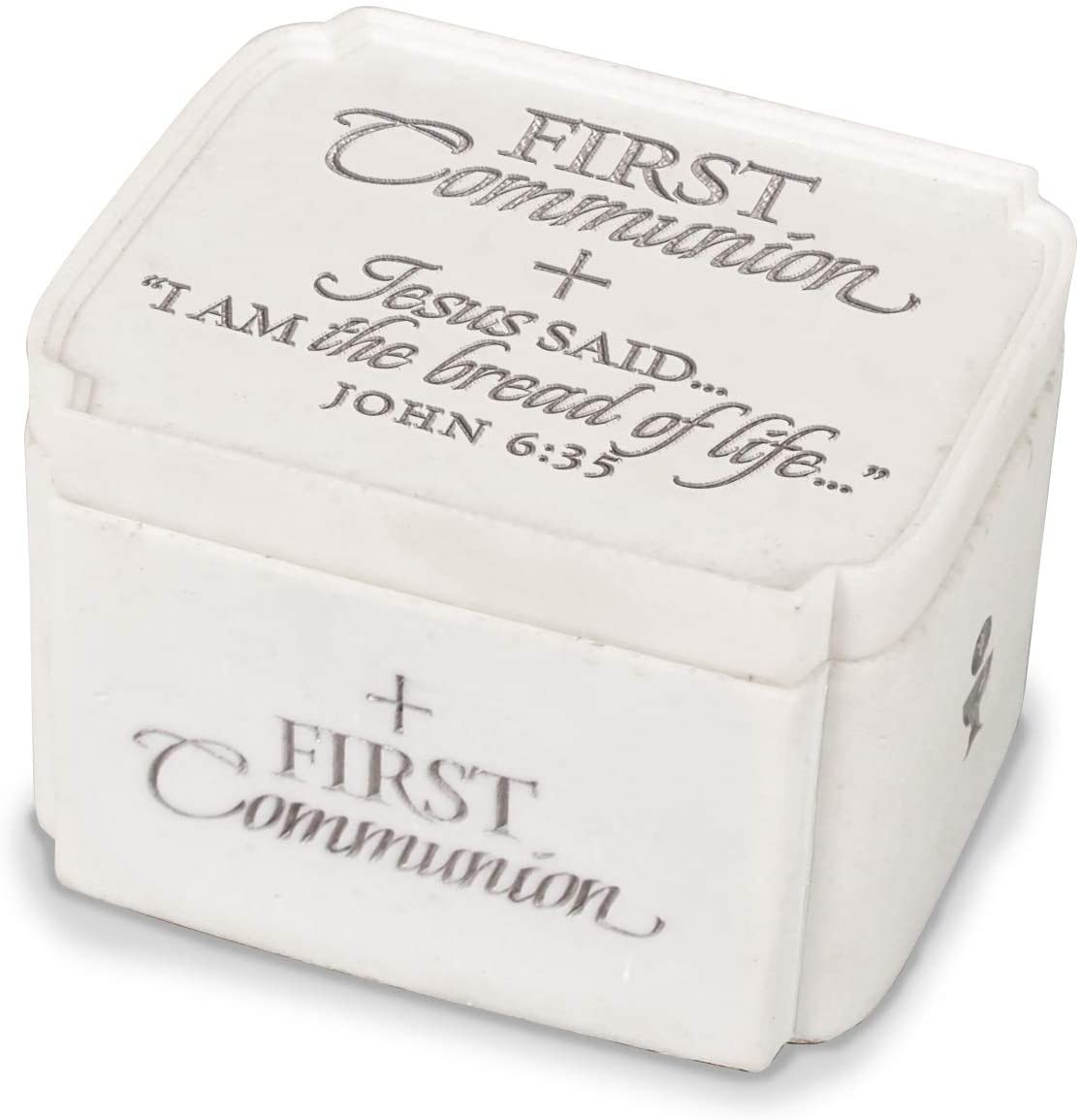 Lighthouse Christian Products First Communion Bread of Life 3.25 x 2 Cast Stone Keepsake Box