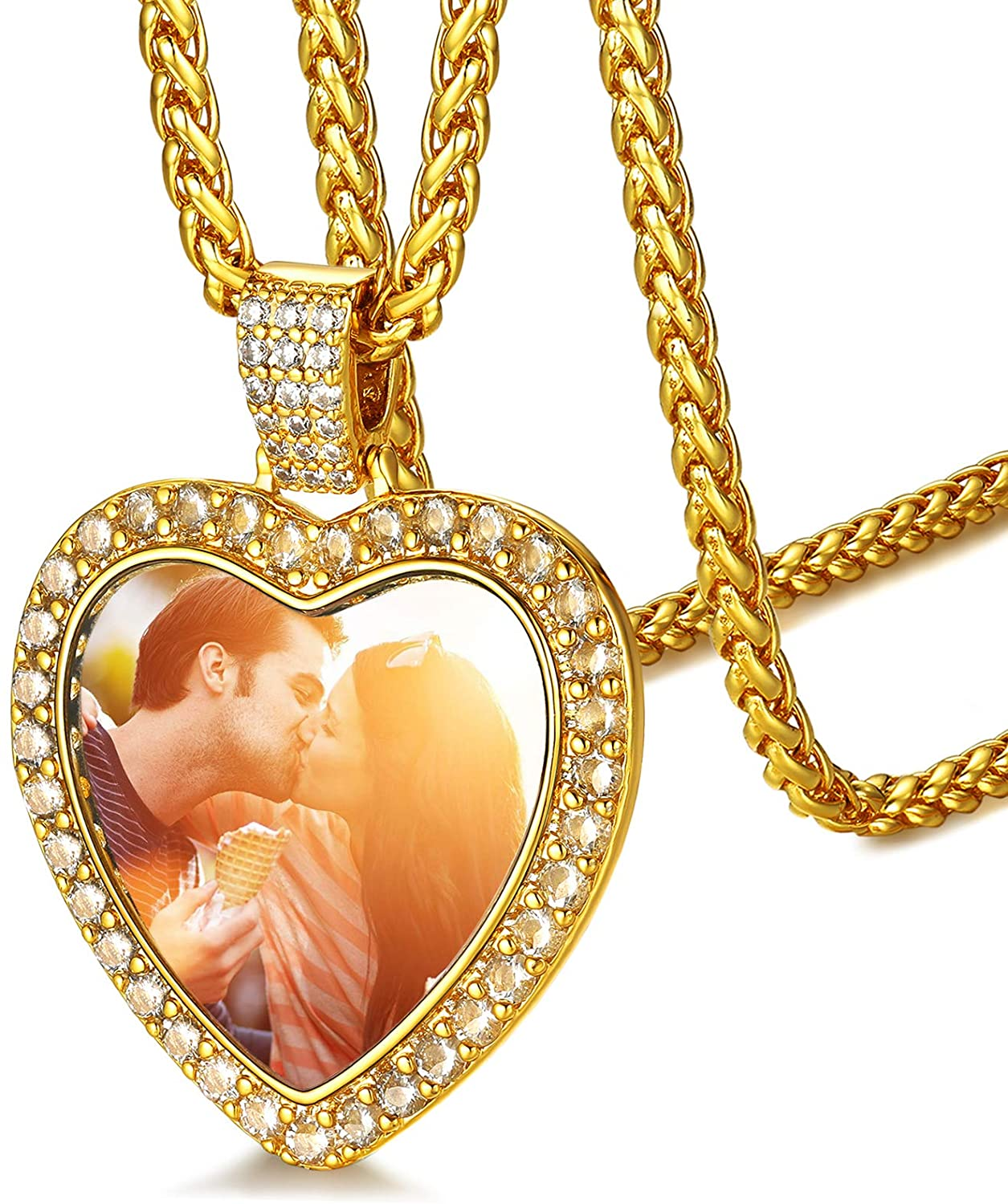 FaithHeart Custom Photo Necklace Personalized Picture Necklaces for Women Men Round/Heart Pendant Necklaces Hip Hop Jewelry