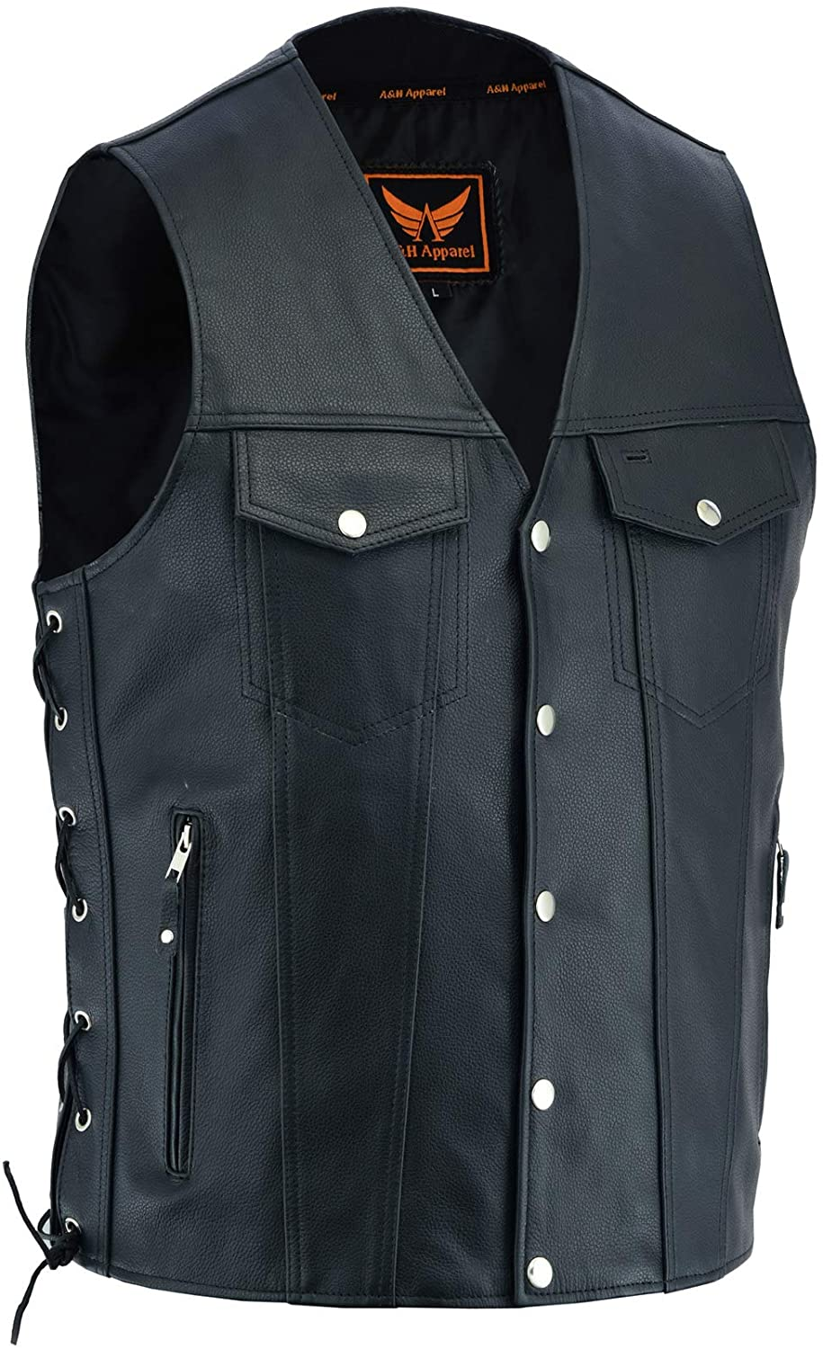 A&H Apparel Mens Genuine Cowhide Leather Vest Biker Vest Concealed Carry Durable Vest (X-Large)
