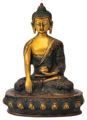 Gangesindia Beautiful Buddha Golden Brown Finish Brass Statue