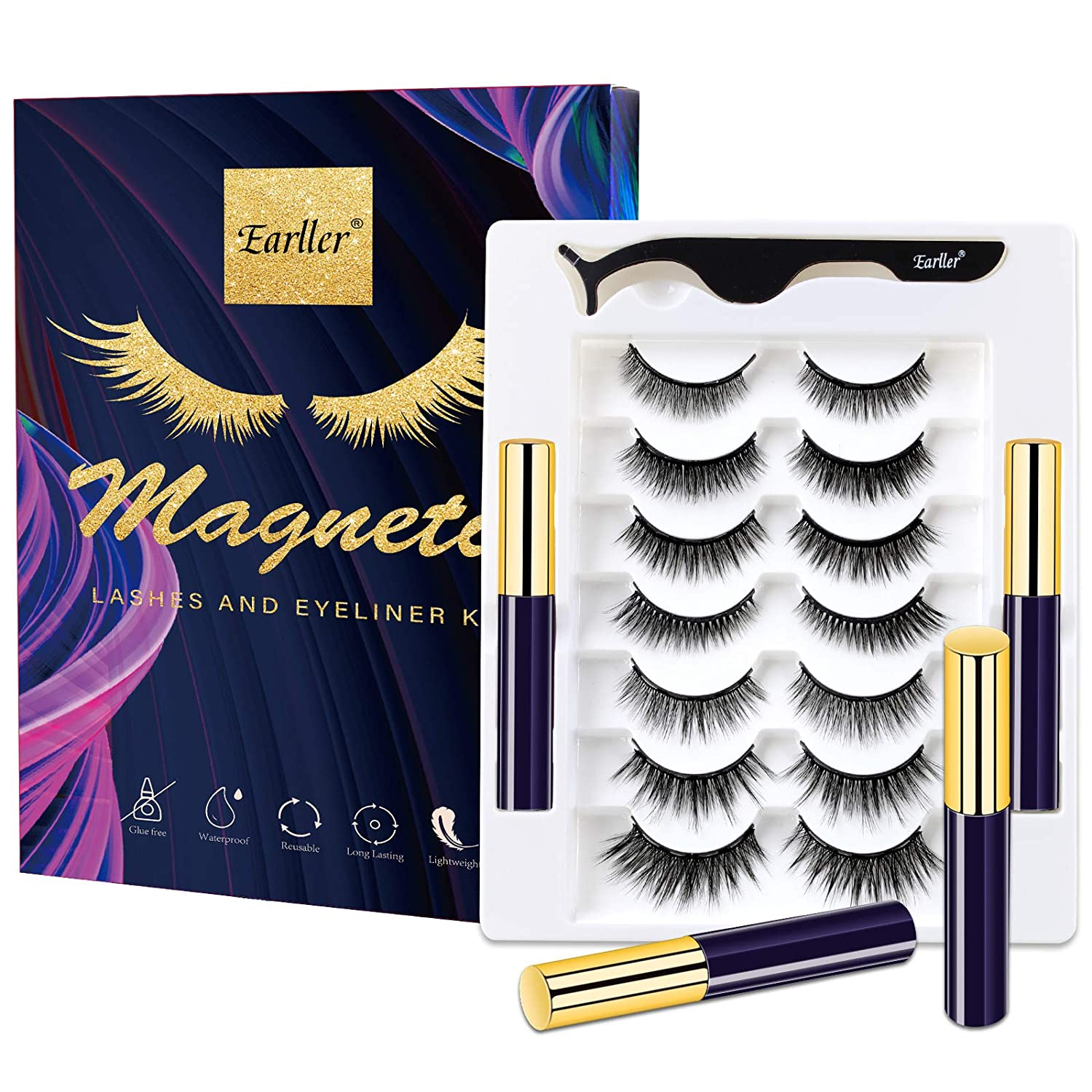 EARLLER 2020 Magnetic Eyelashes with Eyeliner Kit,7 Pairs Natural Look False Lashes with Applicator - Easy to Apply and No Glue Needed, 3D & 5D Reusable Short and Long Eyelashes Set