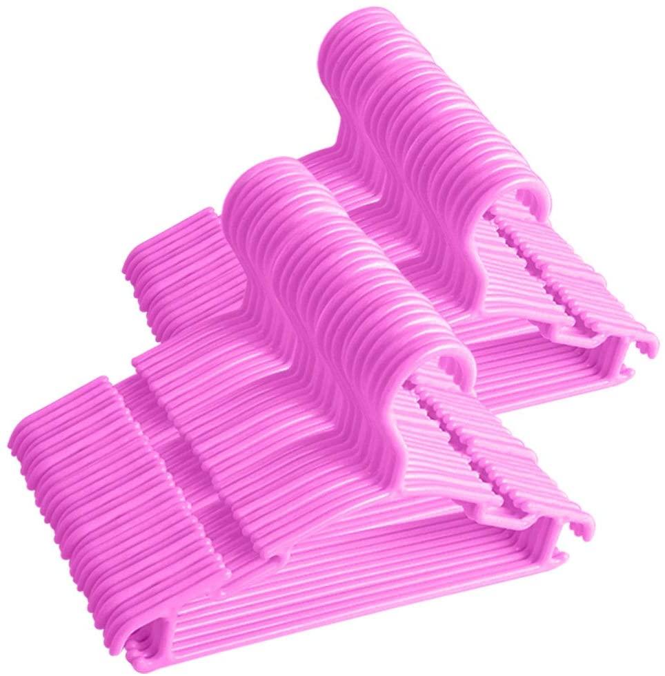 Baby Hangers, 100Pcs Pink Plastic Kids Hangers for Infant Child Children Clothes for Closet Nursery Wardrobe Hangers (Pink, 100Pcs)