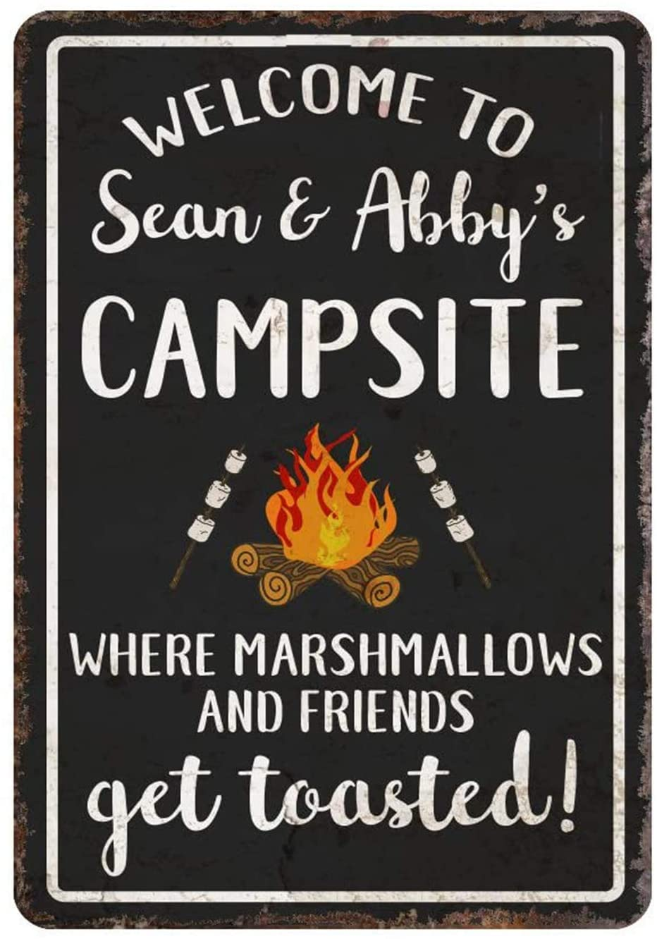 Personalized Sign Decor Tin Sign Welcome to The Campsite Where Marshmallows and Friends Get Toasted Metal Room Sign