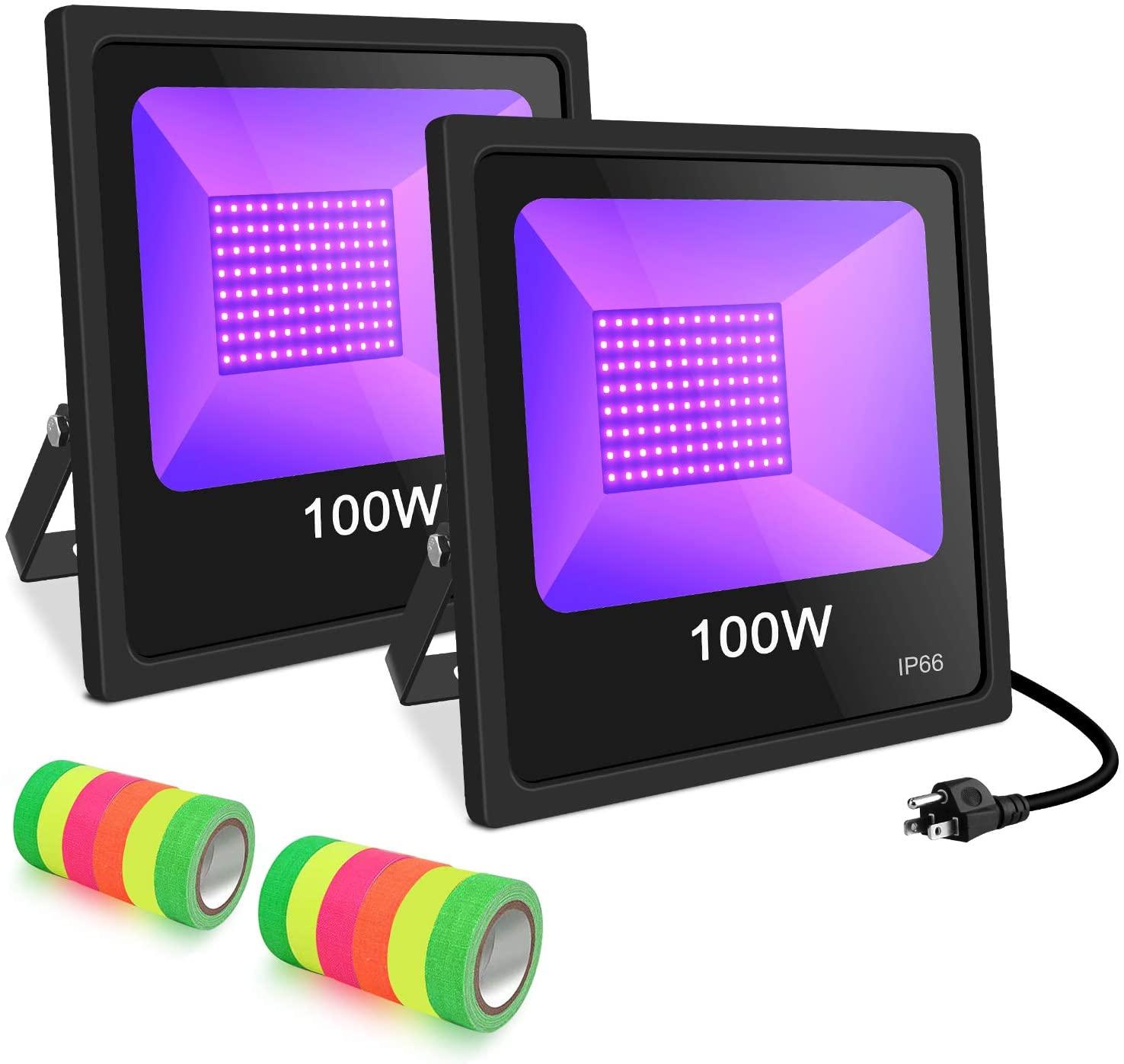UV LED Black Light, 2 Pack 100W UV LED Floodlight Outdoor IP66 Waterproof Stage Light for Blacklight Party, 12 Fluorescent Neon Glow Gaffer Tape, UV Black Light Flood Light Bulb for DJ Disco