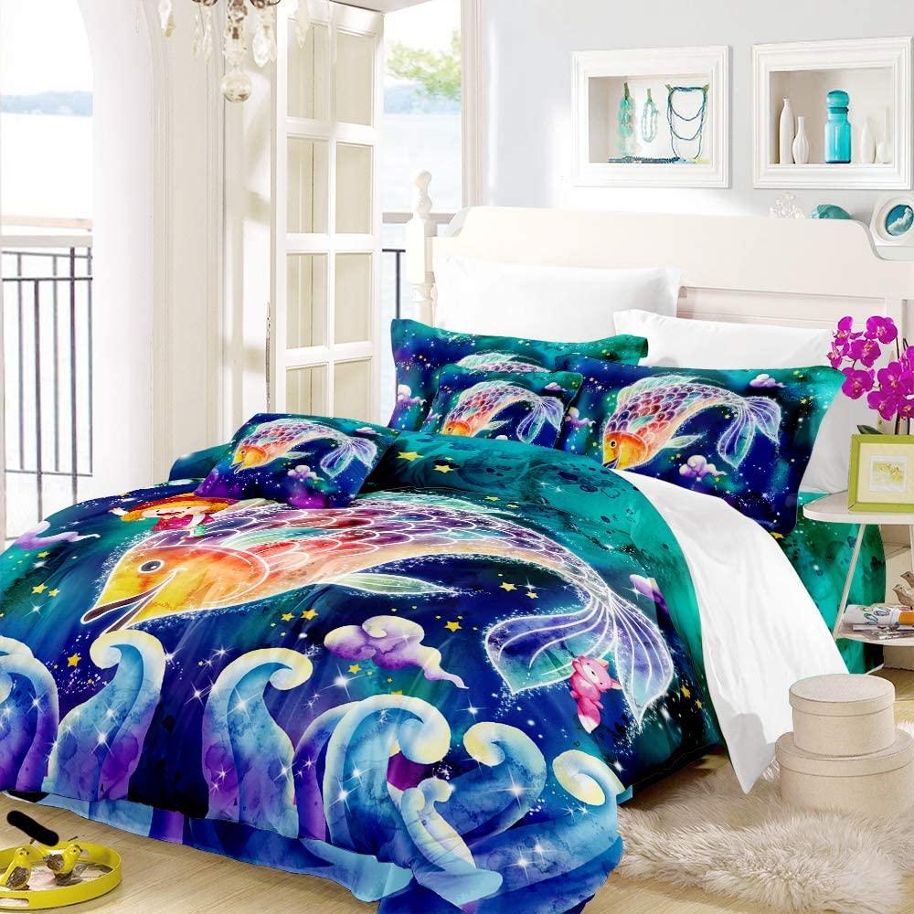 Earendel Twelve Constellations Bedding Set Tie-dye Duvet Cover 2/3/4 Pcs Bed Sets 2/3/4PCS Microfiber Quilt Covers/Sheets/Pillow Shams,Twin/Full/Queen/King Size (8,Queen-228×228cm(4PCS))