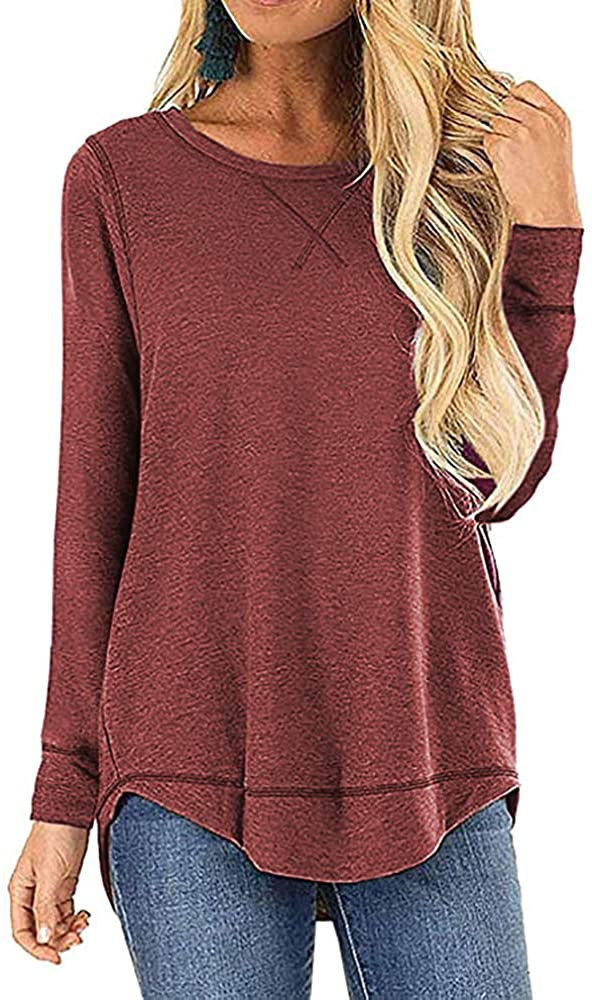 OURS Women's Casual Long Sleeve T-Shirts Cotton Tee Tops Loose V-Notch Short Sleeve Tunic Tops (S, A-Wine Red)