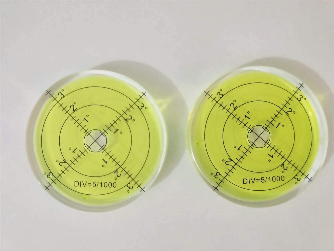 2PCS Bubble Level Bubble Spirit Levels 66x10mm Circular Bullseye Bubble for Leveling Camera Tripod Phonograph Furniture Measuring Tools (A-Color)