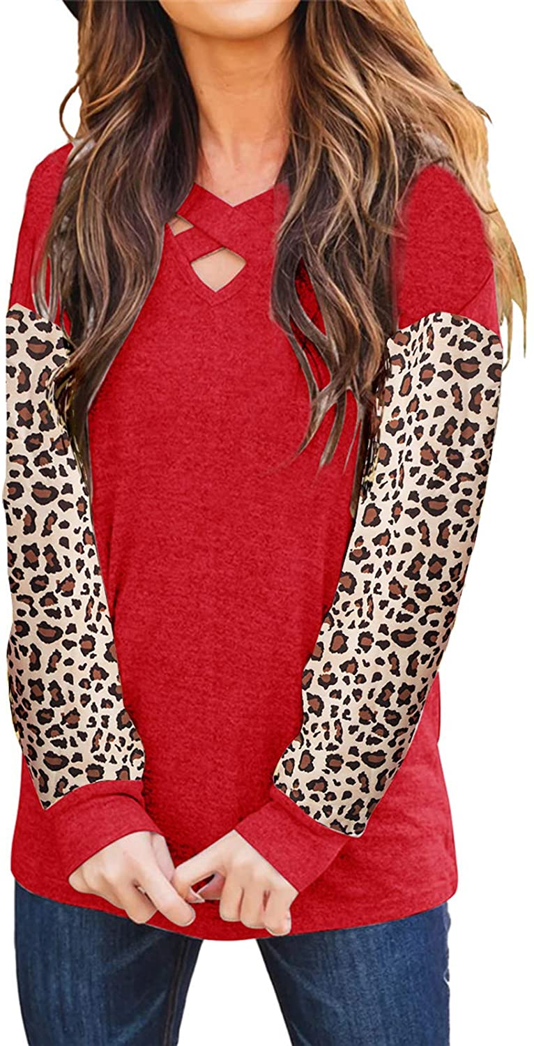 Women's T Shirts Long Sleeve Criss Cross V Neck Leopard Printed Patchwork Tops Blouses Tunics Outfits