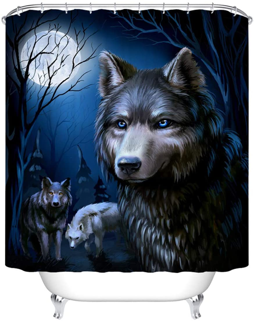 Wolf Bathroom Shower Curtain Animal Themed Wolves Lover Fantastic Fabric Waterproof Shower Curtains Set 12 Hooks Waterproof Bath Curtain Bathroom Accessories, 72W by 72H Inch