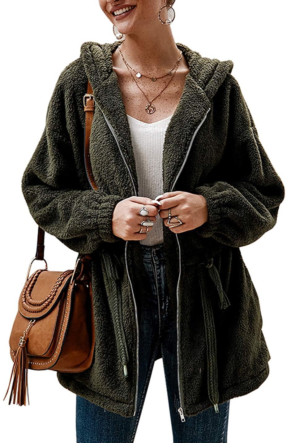 Uaneo Womens Fleece Casual Loose Zip Up Drawstring Long Sleeve Hooded Jacket Coat