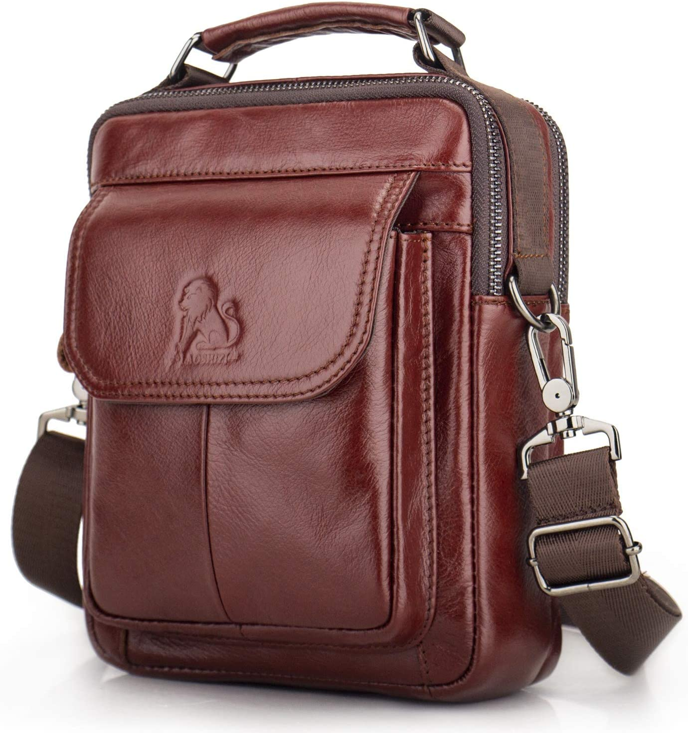 LAOSHIZI Genuine Leather Men Messenger Bags Retro Small Shoulder Crossbody Bag Handbags (Red-brown)