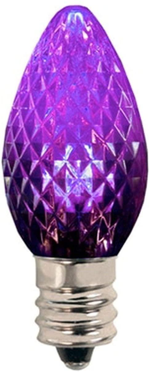 Brilliant Brand Lighting Purple C9 LED Christmas Light Bulbs (25 Pack) - Faceted