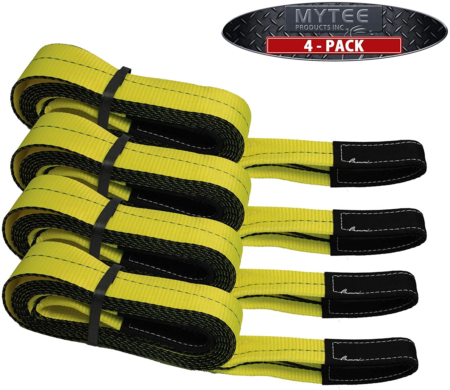 Mytee Products (4 Pack) Heavy Duty Tow Strap 4 X 20 Recovery Rescue 32000 LB Break Strength Towing