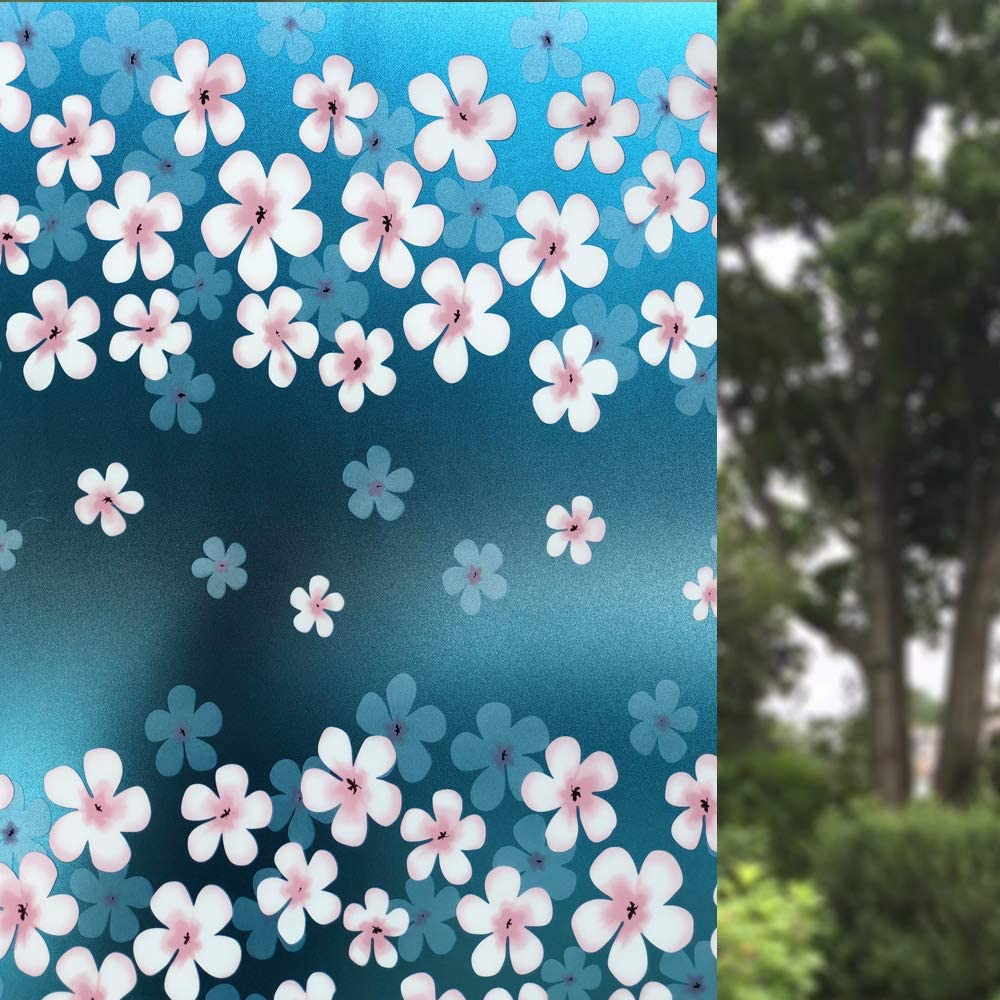 GM Morning Glory Window Film Static Cling Non Adhesive Sun Blocking High Privacy Heat Control Anti UV Frosted Flower Film Decorate Home/Bathroom/Office Window 23.6x78.7 Inches(60x200cm)